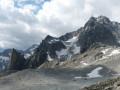 Petit Clocher du Portalet and Le Portalet. The end of the Glacier d'Orny below